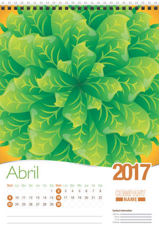 spanish language: Abril -April in Spanish language- wall calendar 2017 template with abstract floral design, ready for printing. Size: 297mm x 420mm. Format vertical. Spanish version Illustration