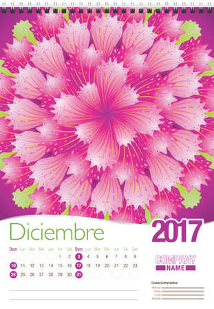 spanish language: Diciembre -December in Spanish language- wall calendar 2017 template with abstract floral design, ready for printing. Size: 297mm x 420mm. Format vertical. Spanish version Illustration