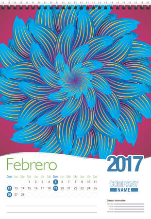 spanish language: Febrero -February in Spanish language- wall calendar 2017 template with abstract floral design, ready for printing. Size: 297mm x 420mm. Format vertical. Spanish version