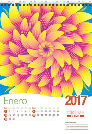 spanish language: Enero -January in Spanish language- wall calendar 2017 template with abstract floral design, ready for printing. Size: 297mm x 420mm. Format vertical. Spanish version Illustration