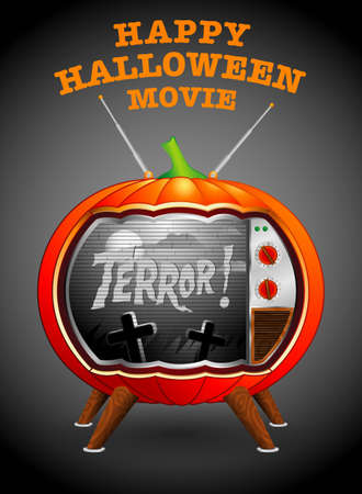 TV-shaped pumpkin projecting an old horror movie in black and white Halloween background