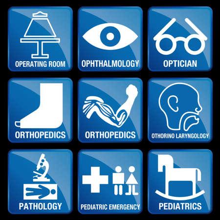 Set van medische pictogrammen in blauw vierkante achtergrond - operatiekamer, oftalmologie, opticien, orthopedie, KNO, pathologie, PEDIATRIC NOOD, kindergeneeskunde