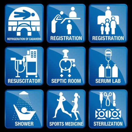 septic: Set of Medical Icons in blue square background - REFRIGERATION OF CADAVERS, REGISTRATION, RESUSCITATOR, SEPTIC ROOM, SERUM LAB, SHOWER, SPORTS MEDICINE, STERILIZATION