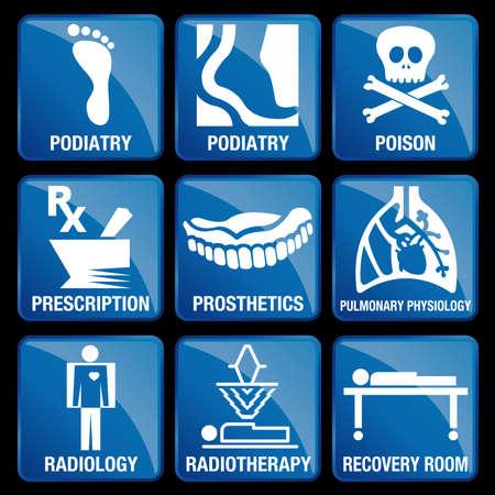 Conjunto de iconos médicos en el fondo cuadrado azul - podología, VENENO, prescripción, PRÓTESIS, Fisiología Pulmonar, radiología, radioterapia, sala de recuperación Foto de archivo - 66674722