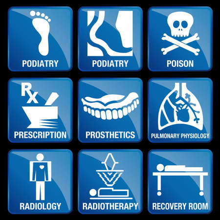 physiology: Set of Medical Icons in blue square background - PODIATRY, POISON, PRESCRIPTION, PROSTHETICS, PULMONARY PHYSIOLOGY, RADIOLOGY, RADIOTHERAPY, RECOVERY ROOM
