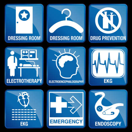 endoscopy: Set of Medical Icons in blue square background - DRESSING ROOM, DRUG PREVENTION, ELECTROTHERAPY, ELECTROENCEPHALOGRAPHY, EKG, EMERGENCY, ENDOSCOPY Illustration