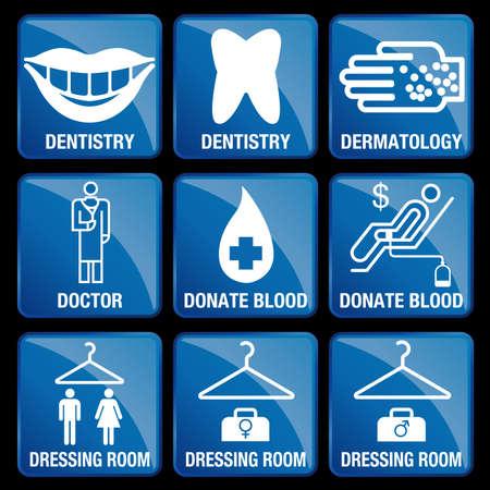 Set of Medical Icons in blue square background - DENTISTRY, DERMATOLOGY, DOCTOR, DONATE BLOOD, DRESSING ROOM Reklamní fotografie - 66674724
