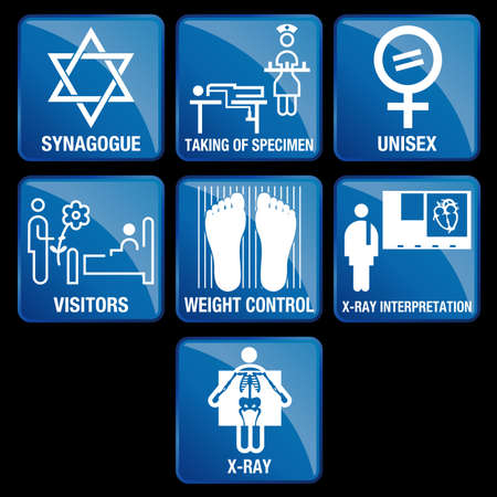 visitors: Set of Medical Icons in blue square background - SYNAGOGUE, TAKING OF SPECIMEN, UNISEX, VISITORS, WEIGHT CONTROL, X-RAY INTERPRETATION, X-RAY