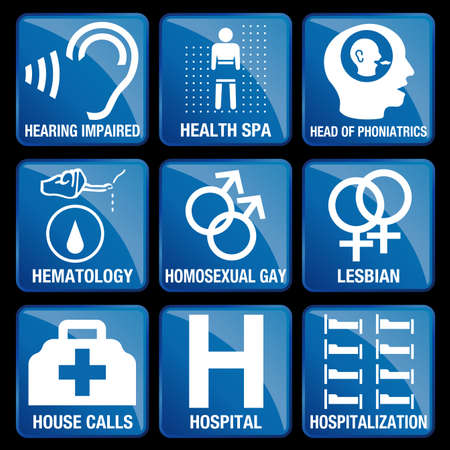 hospitalization: Set of Medical Icons in blue square background - HEARING IMPAIRED, HEALTH SPA, HEAD OF PHONIATRICS, HEMATOLOGY, HOMOSEXUAL GAY, LESBIAN, HOUSE CALLS, HOSPITAL, HOSPITALIZATION