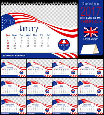 image size: Desk triangle USA flag calendar 2017 template. Size: 210mm x 150mm. Format A5. Vector image. English version Illustration