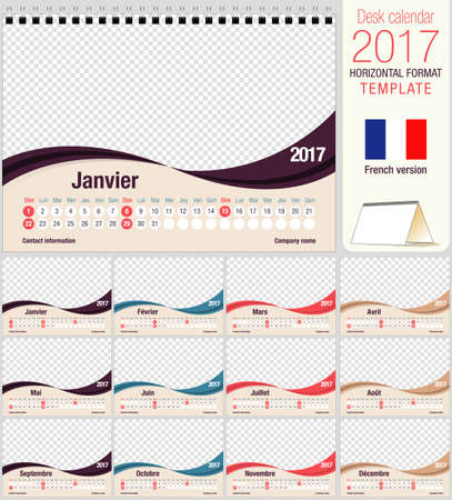 image size: Desk triangle calendar 2017 template. Size: 210mm x 150mm. Format A5.  Vector image. French version Illustration