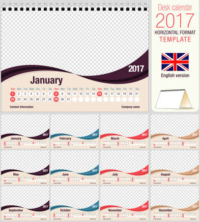 image size: Desk triangle calendar 2017 template. Size: 210mm x 150mm. Format A5. Vector image. English version Illustration