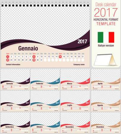 image size: Desk triangle calendar 2017 template. Size: 210mm x 150mm. Format A5.  Vector image. Italian version