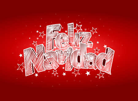 FELIZ NAVIDAD -Merry Christmas in Spanish language- Red cover of greeting card. Layout size: 15 cm x 11 cm. Lettering design