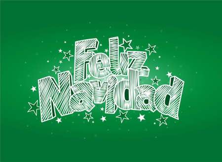 FELIZ NAVIDAD -Merry Christmas in Spanish language- Green cover of greeting card. Layout size: 15 cm x 11 cm. Lettering design Illustration