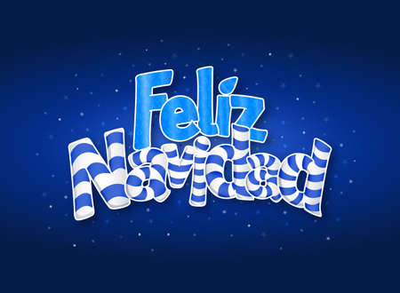 FELIZ NAVIDAD -Merry Christmas in Spanish language- Blue cover of greeting card with stars in background. Layout size: 15 cm x 11 cm. Lettering design.