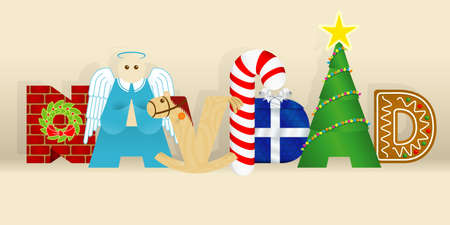 spanish language: Word NAVIDAD -CHRISTMAS in Spanish language- consisting of a wall, an angel, a wooden horse, a candy cane, a gift, a decorated tree and a gingerbread cookie Illustration