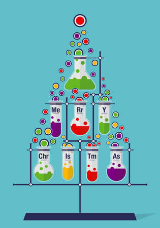 Christmas tree made of test tubes and bubbles on cyan background - Chemistry icons