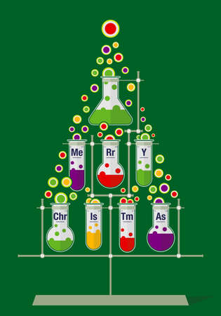 Christmas tree made of test tubes and bubbles on dark green background - Chemistry icons