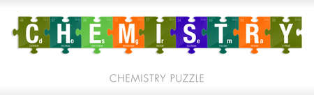 periodic table of the elements: CHEMISTRY word formed by symbols of the Periodic Table of the Elements in the form of puzzle pieces - Vector image