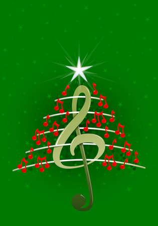 pentagramma musicale: Albero di Natale fatto di note musicali rossi, chiave di violino e pentagramma su sfondo verde con stelle - Immagine vettoriale
