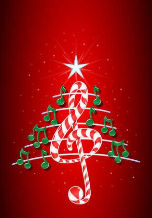 pentagramma musicale: Vector immagine - albero di Natale fatto di note musicali verdi, candy bar a forma di chiave di violino e pentagramma su sfondo rosso con le stelle