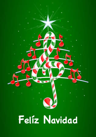 pentagramma musicale: Vector immagine - Feliz Navidad -MERRY Natale in linguaggio- spagnolo su sfondo verde con le stelle: l'albero di Natale fatto di note musicali rosse, candy bar a forma di chiave di violino e pentagramma con titolo Vettoriali