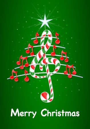 pentagramma musicale: Vector immagine - Buon Natale su sfondo verde con le stelle: l'albero di Natale fatto di note musicali rosse, candy bar a forma di chiave di violino e pentagramma con titolo