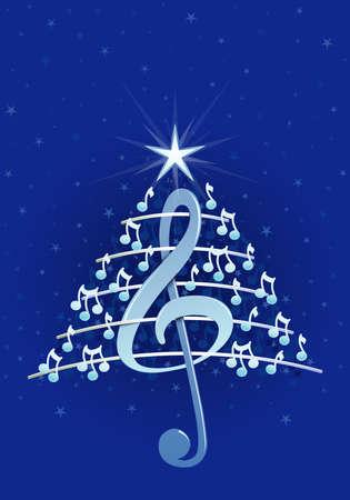 pentagramma musicale: Albero di Natale fatto di bianche note musicali, chiave di violino e pentagramma su sfondo blu con stelle - Immagine vettoriale Vettoriali