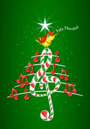 pentagramma musicale: Vector immagine - Feliz Navidad -MERRY Natale in linguaggio- spagnolo su sfondo verde con le stelle: l'albero di Natale fatto di note musicali rosse, candy bar a forma di chiave di violino e pentagramma con il giallo canto degli uccelli e il titolo
