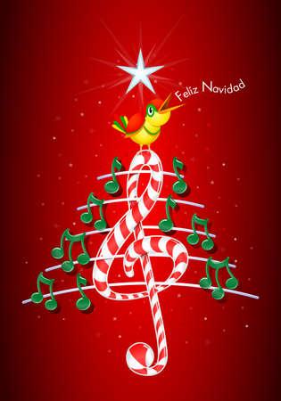 pentagramma musicale: Vector immagine - Feliz Navidad -MERRY Natale in linguaggio- spagnola su sfondo rosso con le stelle: l'albero di Natale fatto di note musicali verdi, candy bar a forma di chiave di violino e pentagramma con il giallo canto degli uccelli e il titolo Vettoriali