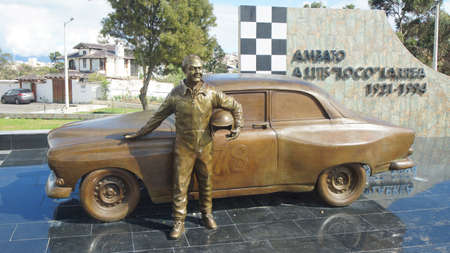 remembered: Ambato, Tungurahua  Ecuador - December 17 2016: Monument to Luis crazy Larrea. Among his many merits, Larrea (1921-1994) is remembered for being three times champion of the Return to the Republic of Ecuador
