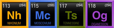 affinity: 4 new elements ( Nihonium, Moscovium, Tennessine, Oganesson ) of Periodic Table of Elements in color square frames with black background. Included on November 28, 2016 by the International Union of Pure and Applied Chemistry Illustration