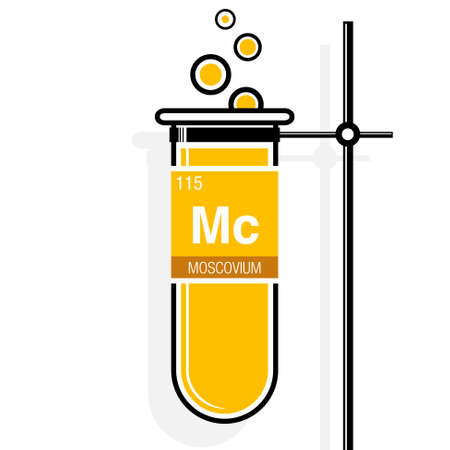 Oganesson symbol element number 118 of the periodic table of 68825782 moscovium symbol on label in a yellow test tube with holder element number 115 of the periodic table of the elements chemistry urtaz Choice Image