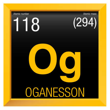 Oganesson symbol. Element number 118 of the Periodic Table of the Elements - Chemistry - Yellow square frame with black background Illustration