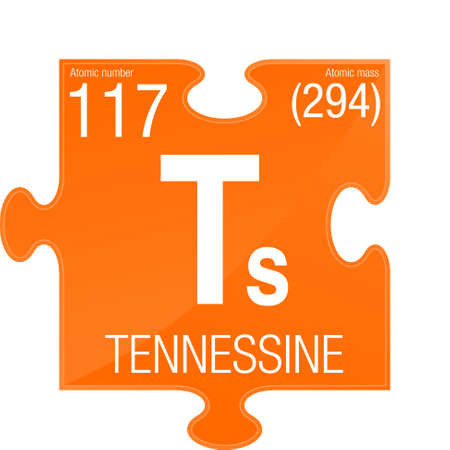 Tennessine symbol. Element number 117 of the Periodic Table of the Elements - Chemistry -  Puzzle piece with orange background