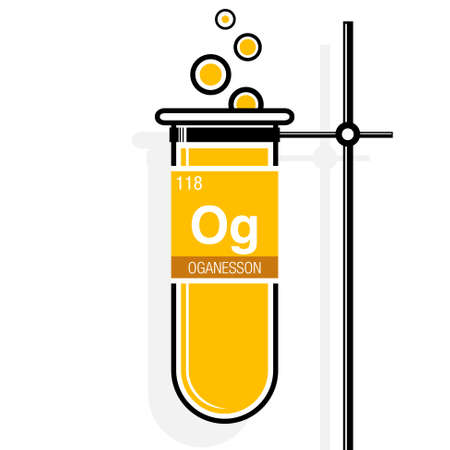 Nihonium symbol on label in a yellow test tube with holder element 68825789 oganesson symbol on label in a yellow test tube with holder element number 118 of the periodic table of the elements chemistry urtaz Image collections