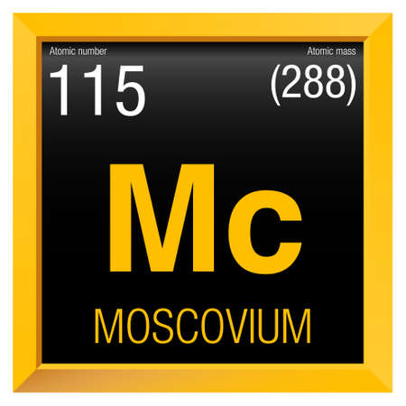 spanish language: Moscovio symbol - Moscovium in Spanish language - Element number 115 of the Periodic Table of the Elements - Chemistry -  Yellow square frame with black background