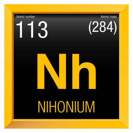 Nihonio symbol - Nihonium in Spanish language - Element number 113 of the Periodic Table of the Elements - Chemistry -  Yellow square frame with black background