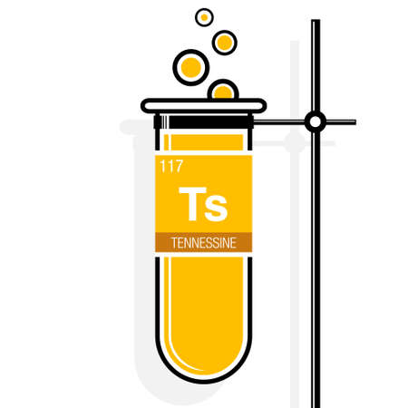 Tennessine symbol on label in a yellow test tube with holder. Element number 117 of the Periodic Table of the Elements - Chemistry