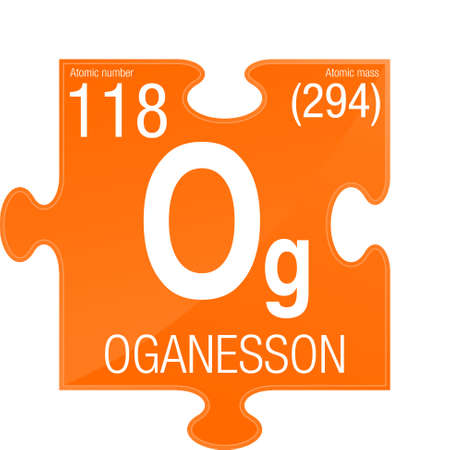 Oganesson symbol. Element number 118 of the Periodic Table of the Elements - Chemistry -  Puzzle piece with orange background