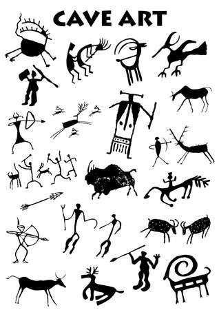Set van Cave Art op witte achtergrond - Vector afbeelding Stock Illustratie