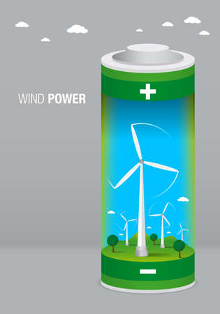 aero generator: Landscape with wind farm inside a battery on gray background - Renewable Energy - Vector image