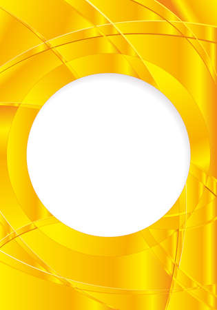 image size: Abstract yellow background with waves and a white circle in the middle to place texts. A4 size - 21cm x 30cm - Vector image