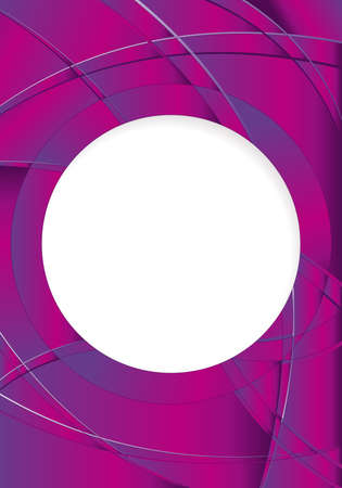 image size: Abstract violet background with waves and a white circle in the middle to place texts. A4 size - 21cm x 30cm - Vector image