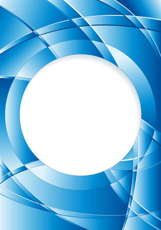 image size: Abstract blue background with waves and a white circle in the middle to place texts. A4 size - 21cm x 30cm - Vector image