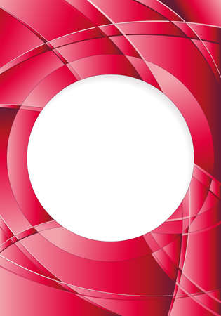 image size: Abstract red background with waves and a white circle in the middle to place texts. A4 size - 21cm x 30cm - Vector image Illustration