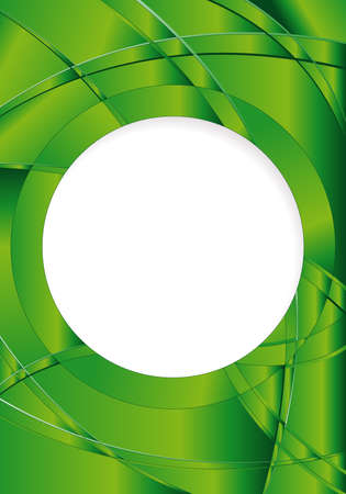 image size: Abstract green background with waves and a white circle in the middle to place texts. A4 size - 21cm x 30cm - Vector image