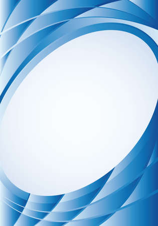 image size: Abstract blue background with waves and a white oval in the middle to place texts. A4 size - 21cm x 30cm - Vector image