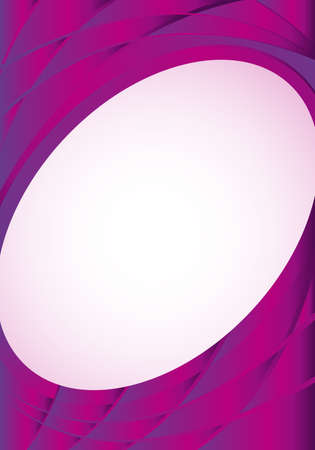image size: Abstract violet background with waves and a white oval in the middle to place texts. A4 size - 21cm x 30cm - Vector image